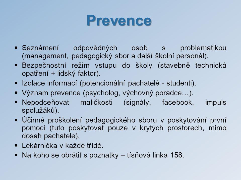 Prevence  Seznámení odpovědných osob s problematikou (management, pedagogický sbor a další školní personál).  Bezpečnostní režim vstupu do školy (st