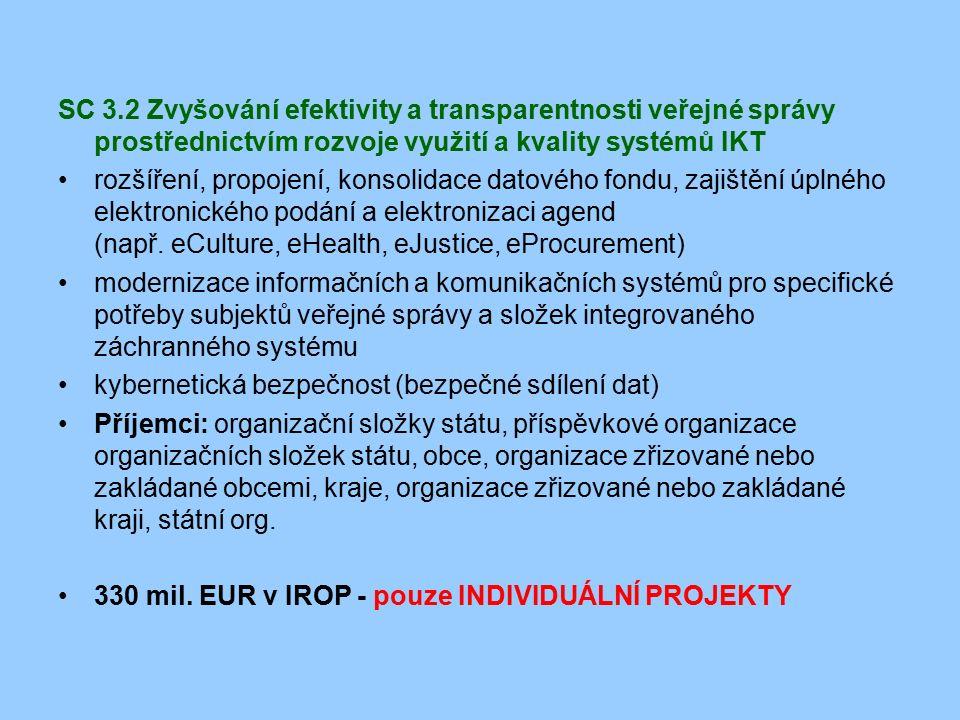 SC 3.2 Zvyšování efektivity a transparentnosti veřejné správy prostřednictvím rozvoje využití a kvality systémů IKT rozšíření, propojení, konsolidace