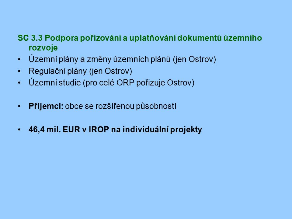SC 3.3 Podpora pořizování a uplatňování dokumentů územního rozvoje Územní plány a změny územních plánů (jen Ostrov) Regulační plány (jen Ostrov) Územn