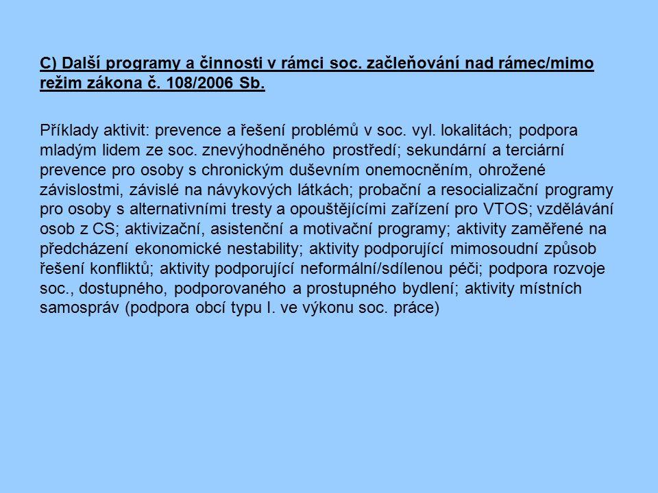 C) Další programy a činnosti v rámci soc. začleňování nad rámec/mimo režim zákona č. 108/2006 Sb. Příklady aktivit: prevence a řešení problémů v soc.