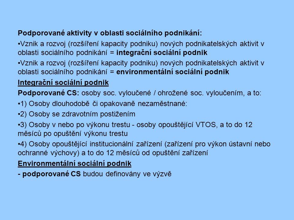 Podporované aktivity v oblasti sociálního podnikání: Vznik a rozvoj (rozšíření kapacity podniku) nových podnikatelských aktivit v oblasti sociálního p