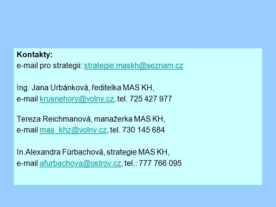 Kontakty: e-mail pro strategii: strategie.maskh@seznam.czstrategie.maskh@seznam.cz Ing. Jana Urbánková, ředitelka MAS KH, e-mail krusnehory@volny.cz,