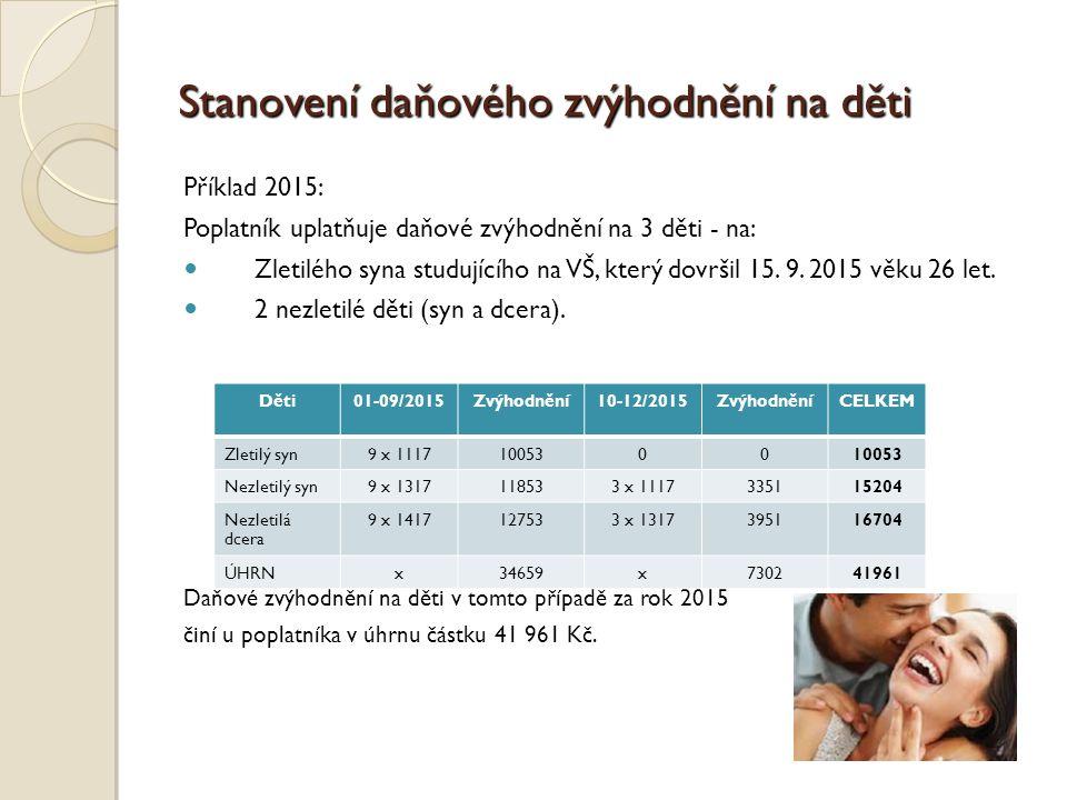 Stanovení daňového zvýhodnění na děti Příklad 2015: Poplatník uplatňuje daňové zvýhodnění na 3 děti - na: Zletilého syna studujícího na VŠ, který dovršil 15.