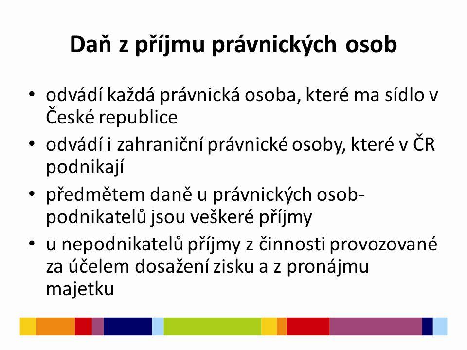 Daň z příjmu právnických osob odvádí každá právnická osoba, které ma sídlo v České republice odvádí i zahraniční právnické osoby, které v ČR podnikají předmětem daně u právnických osob- podnikatelů jsou veškeré příjmy u nepodnikatelů příjmy z činnosti provozované za účelem dosažení zisku a z pronájmu majetku