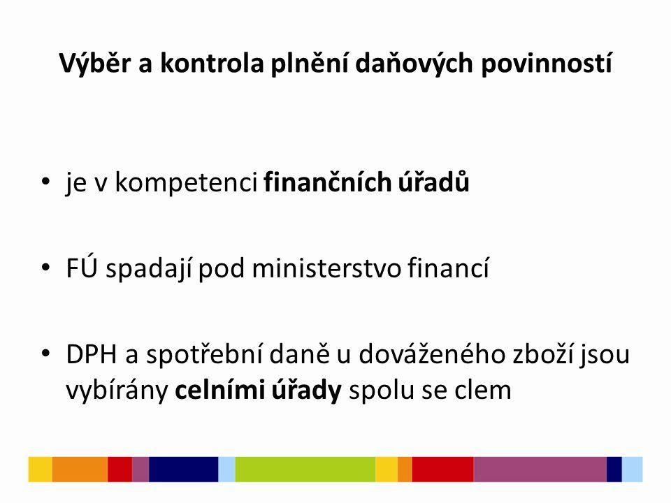 Výběr a kontrola plnění daňových povinností je v kompetenci finančních úřadů FÚ spadají pod ministerstvo financí DPH a spotřební daně u dováženého zboží jsou vybírány celními úřady spolu se clem