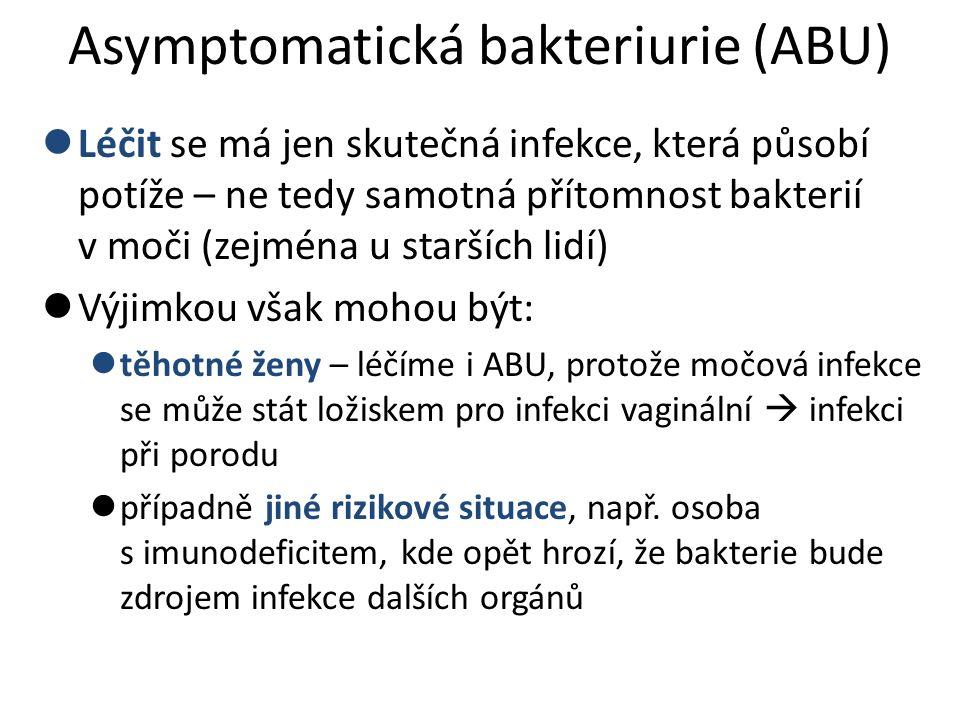 Asymptomatická bakteriurie (ABU) Léčit se má jen skutečná infekce, která působí potíže – ne tedy samotná přítomnost bakterií v moči (zejména u staršíc