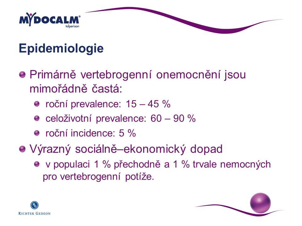 Epidemiologie Primárně vertebrogenní onemocnění jsou mimořádně častá: roční prevalence: 15 – 45 % celoživotní prevalence: 60 – 90 % roční incidence: 5
