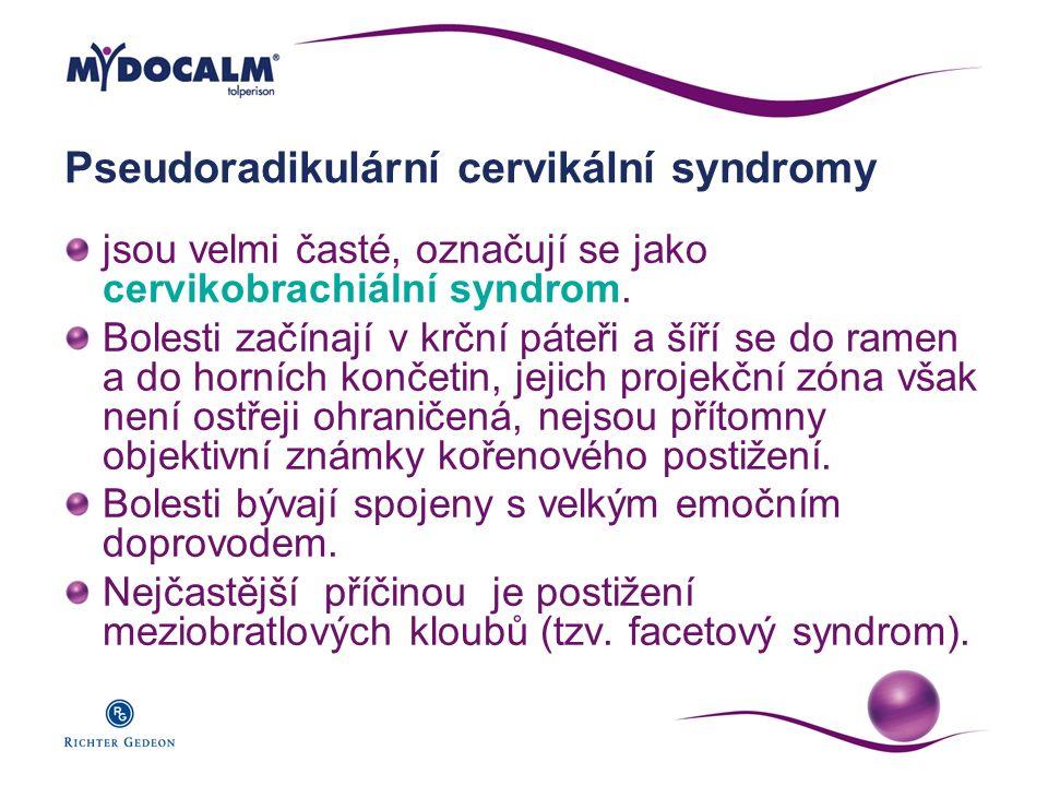 Pseudoradikulární cervikální syndromy jsou velmi časté, označují se jako cervikobrachiální syndrom. Bolesti začínají v krční páteři a šíří se do ramen
