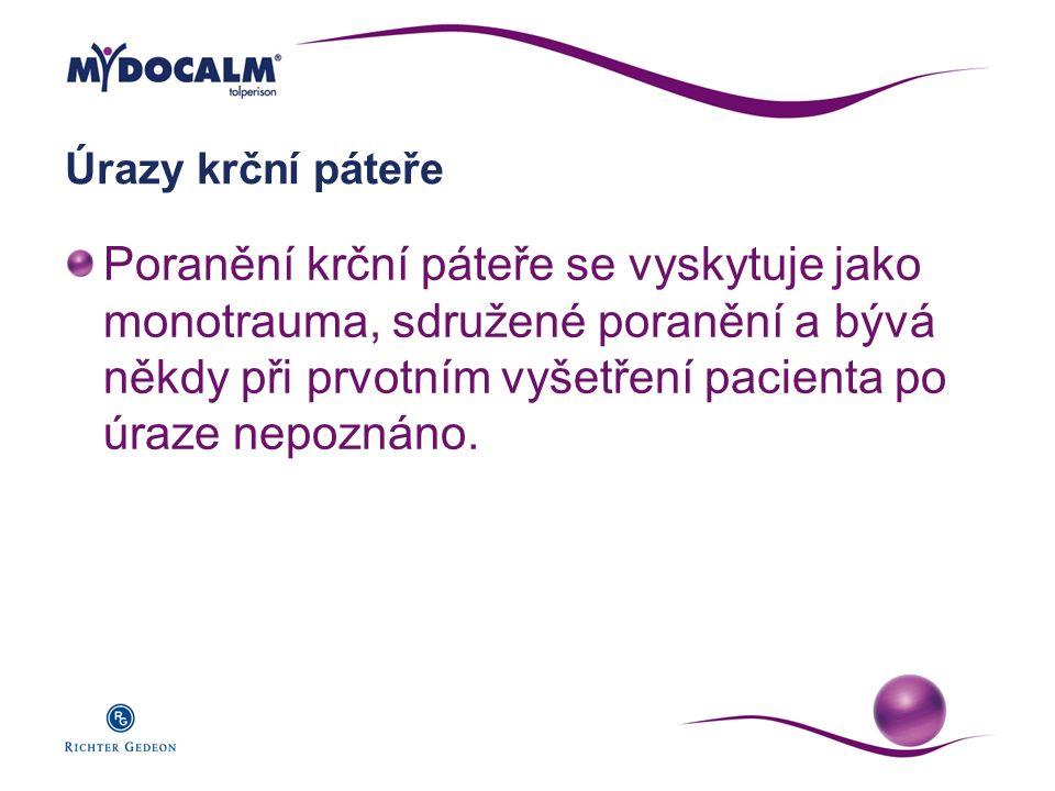 Úrazy krční páteře Poranění krční páteře se vyskytuje jako monotrauma, sdružené poranění a bývá někdy při prvotním vyšetření pacienta po úraze nepozná