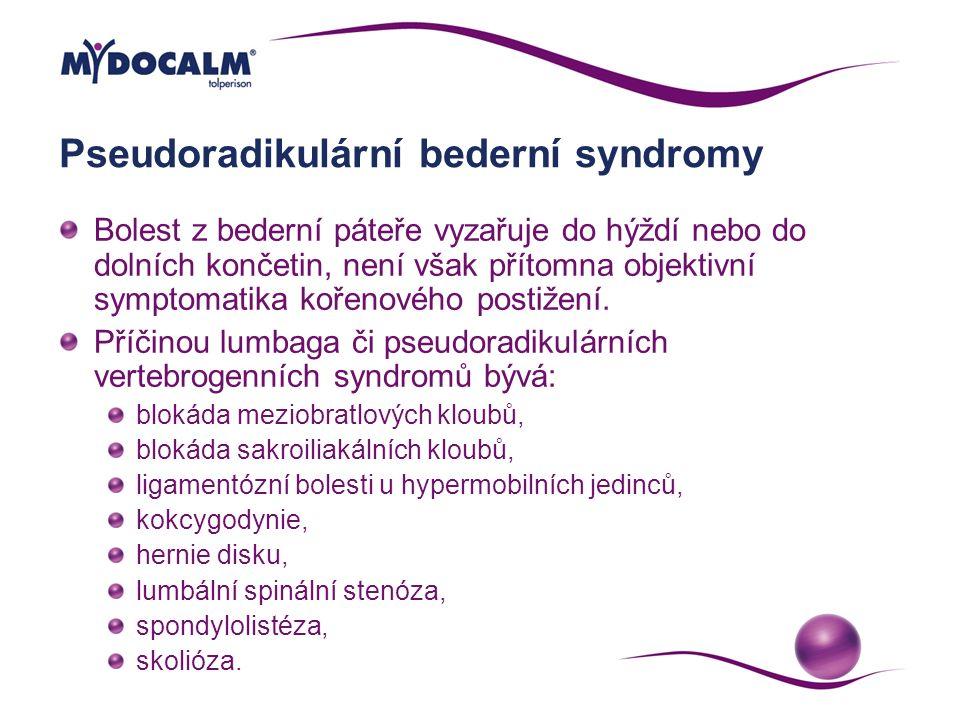 Pseudoradikulární bederní syndromy Bolest z bederní páteře vyzařuje do hýždí nebo do dolních končetin, není však přítomna objektivní symptomatika koře