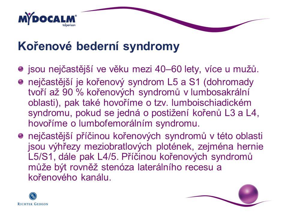 Kořenové bederní syndromy jsou nejčastější ve věku mezi 40–60 lety, více u mužů. nejčastější je kořenový syndrom L5 a S1 (dohromady tvoří až 90 % koře