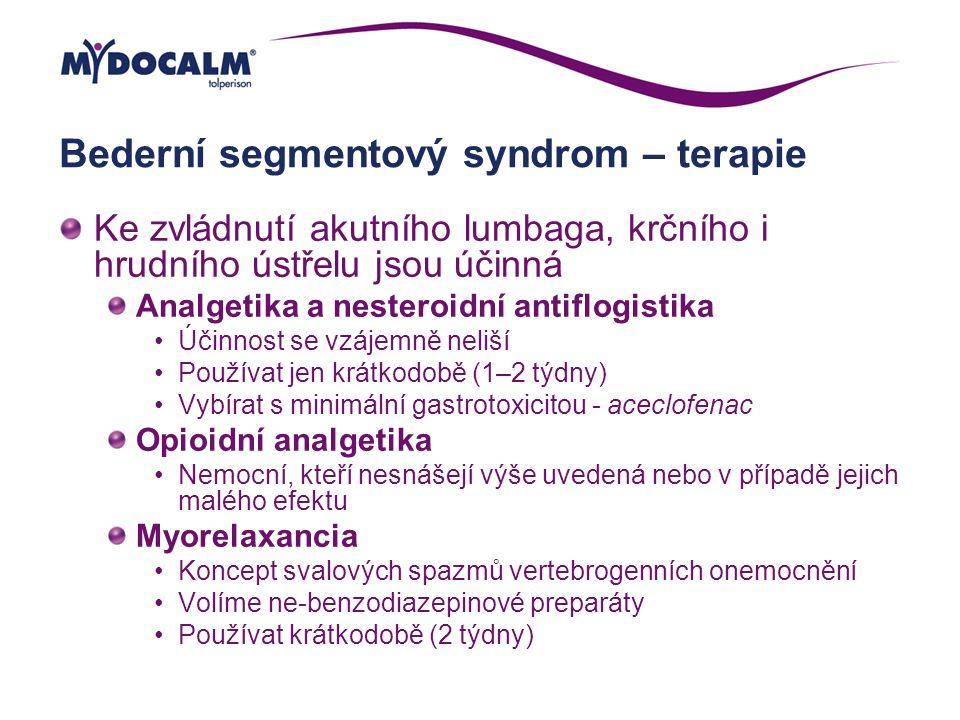Bederní segmentový syndrom – terapie Ke zvládnutí akutního lumbaga, krčního i hrudního ústřelu jsou účinná Analgetika a nesteroidní antiflogistika Úči
