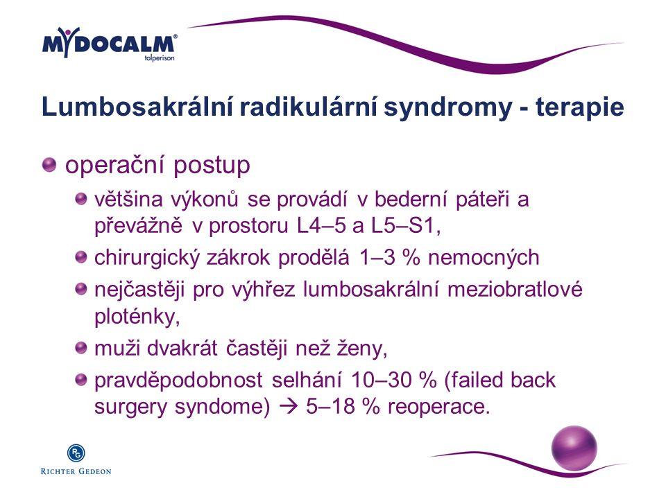 Lumbosakrální radikulární syndromy - terapie operační postup většina výkonů se provádí v bederní páteři a převážně v prostoru L4–5 a L5–S1, chirurgick