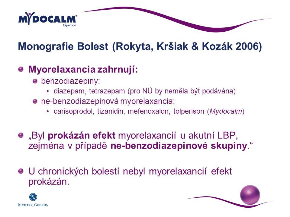 Monografie Bolest (Rokyta, Kršiak & Kozák 2006) Myorelaxancia zahrnují: benzodiazepiny: diazepam, tetrazepam (pro NÚ by neměla být podávána) ne-benzod