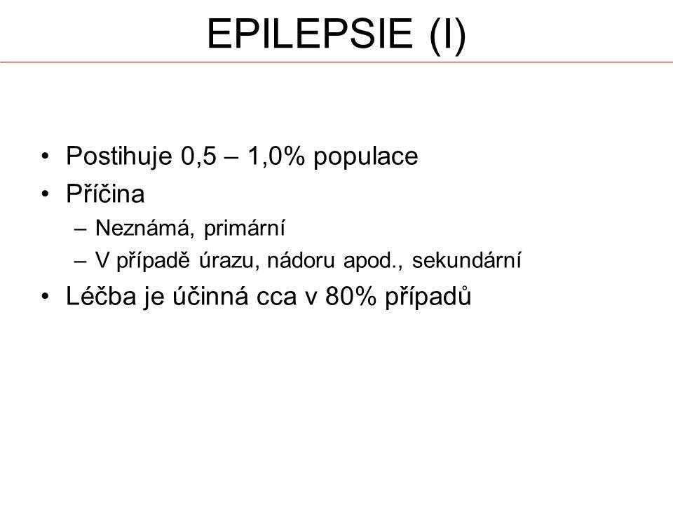 EPILEPSIE (I) Postihuje 0,5 – 1,0% populace Příčina –Neznámá, primární –V případě úrazu, nádoru apod., sekundární Léčba je účinná cca v 80% případů