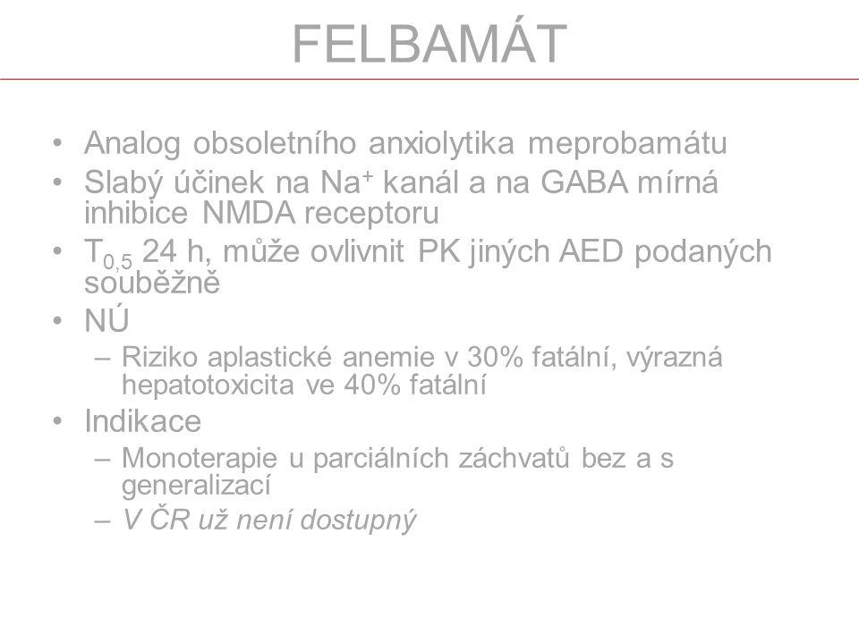 Analog obsoletního anxiolytika meprobamátu Slabý účinek na Na + kanál a na GABA mírná inhibice NMDA receptoru T 0,5 24 h, může ovlivnit PK jiných AED