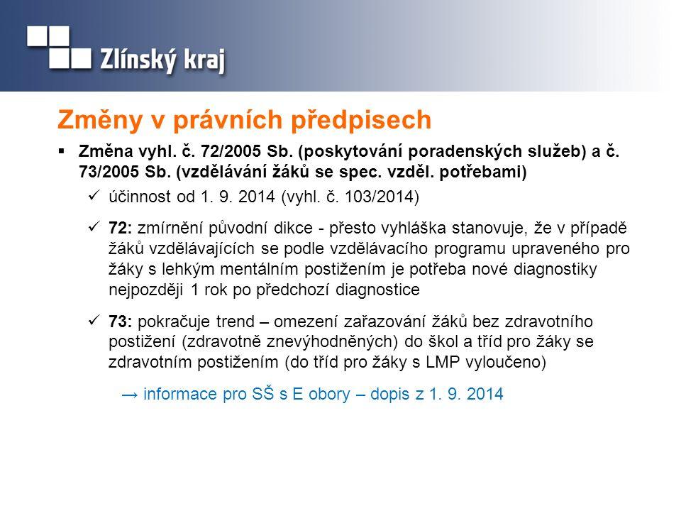 Změny v právních předpisech  Změna vyhl. č. 72/2005 Sb. (poskytování poradenských služeb) a č. 73/2005 Sb. (vzdělávání žáků se spec. vzděl. potřebami