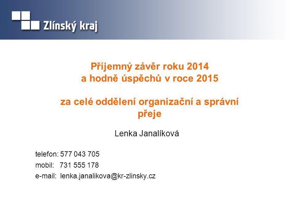 Příjemný závěr roku 2014 a hodně úspěchů v roce 2015 za celé oddělení organizační a správní přeje Lenka Janalíková telefon: 577 043 705 mobil: 731 555