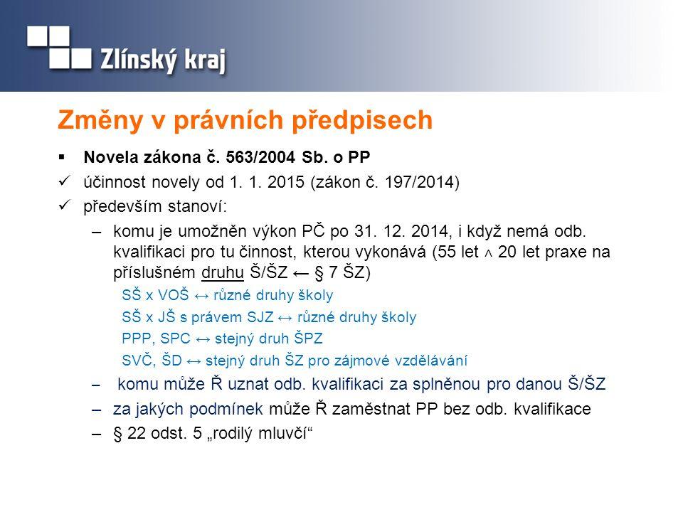 Změny v právních předpisech Metodický výklad MŠMT http://www.msmt.cz/dokumenty/novela-zakona-o-pedagogickych- pracovnicich-a-jeji-metodicky Adresy pro dotazy: kvalifikace@msmt.cz posta@msmt.cz marie.fridrichova@msmt.cz  v přípravě další dílčí novela zákona č.