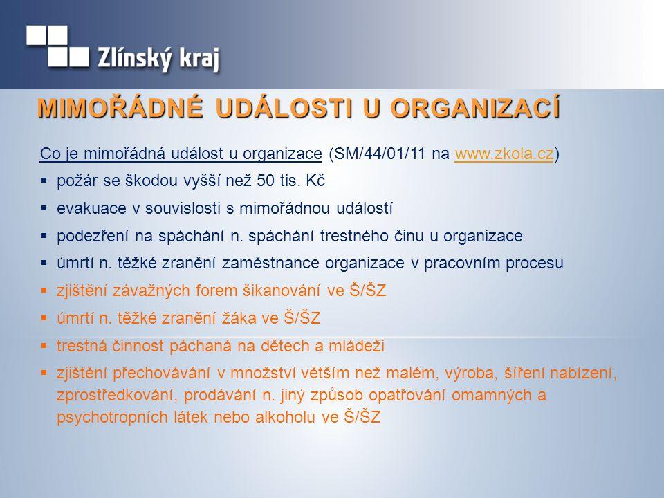 MIMOŘÁDNÉ UDÁLOSTI U ORGANIZACÍ Co je mimořádná událost u organizace (SM/44/01/11 na www.zkola.cz)www.zkola.cz  požár se škodou vyšší než 50 tis. Kč
