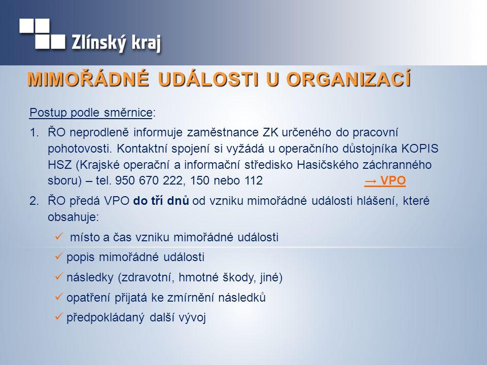 MIMOŘÁDNÉ UDÁLOSTI U ORGANIZACÍ Postup podle směrnice: 1.ŘO neprodleně informuje zaměstnance ZK určeného do pracovní pohotovosti. Kontaktní spojení si
