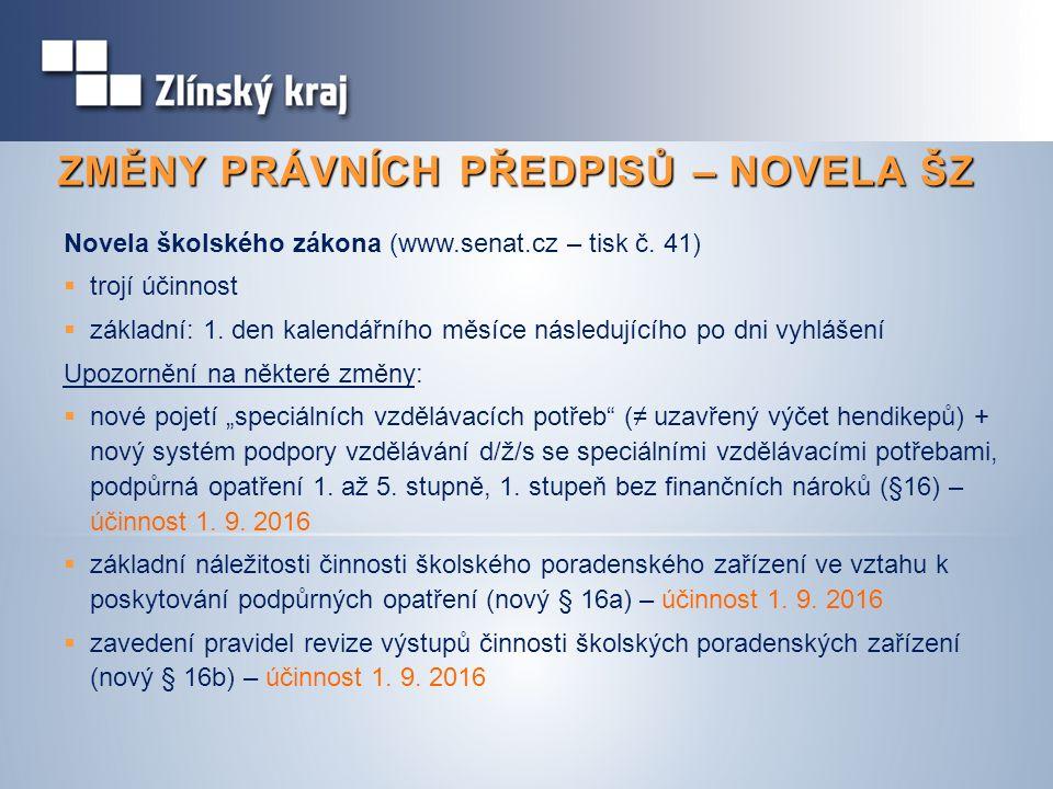 ZMĚNY PRÁVNÍCH PŘEDPISŮ – NOVELA ŠZ Novela školského zákona (www.senat.cz – tisk č. 41)  trojí účinnost  základní: 1. den kalendářního měsíce násled
