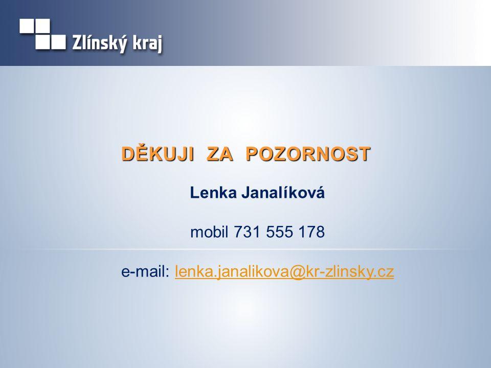 DĚKUJI ZA POZORNOST Lenka Janalíková mobil 731 555 178 e-mail: lenka.janalikova@kr-zlinsky.czlenka.janalikova@kr-zlinsky.cz