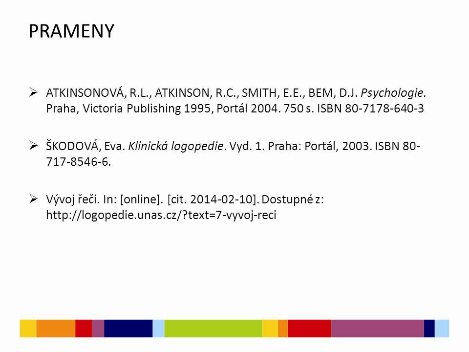 PRAMENY  ATKINSONOVÁ, R.L., ATKINSON, R.C., SMITH, E.E., BEM, D.J. Psychologie. Praha, Victoria Publishing 1995, Portál 2004. 750 s. ISBN 80-7178-640