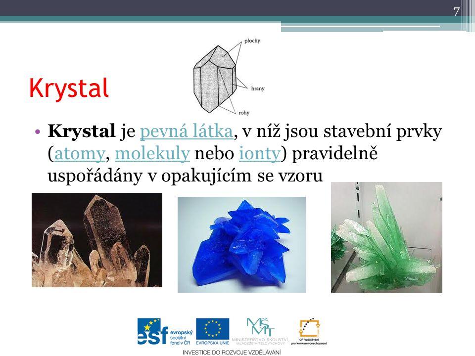 Krystal Krystal je pevná látka, v níž jsou stavební prvky (atomy, molekuly nebo ionty) pravidelně uspořádány v opakujícím se vzorupevná látkaatomymole