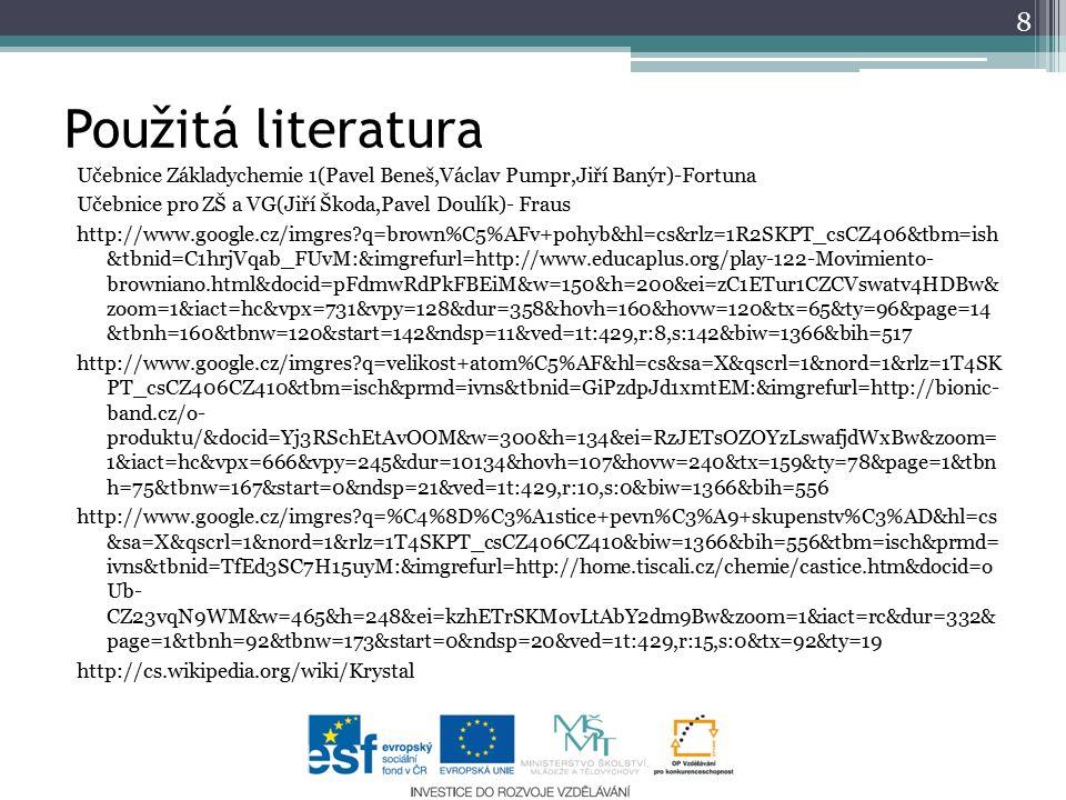Použitá literatura Učebnice Základychemie 1(Pavel Beneš,Václav Pumpr,Jiří Banýr)-Fortuna Učebnice pro ZŠ a VG(Jiří Škoda,Pavel Doulík)- Fraus http://w