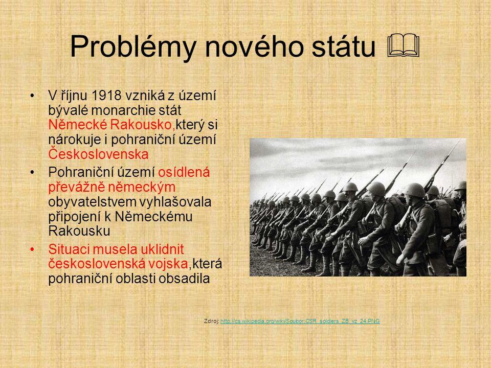 Problémy nového státu  V říjnu 1918 vzniká z území bývalé monarchie stát Německé Rakousko,který si nárokuje i pohraniční území Československa Pohrani