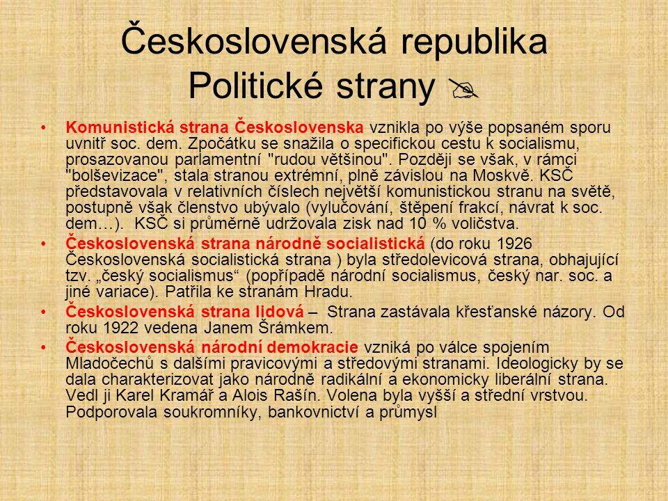 Československá republika Politické strany  Komunistická strana Československa vznikla po výše popsaném sporu uvnitř soc. dem. Zpočátku se snažila o s