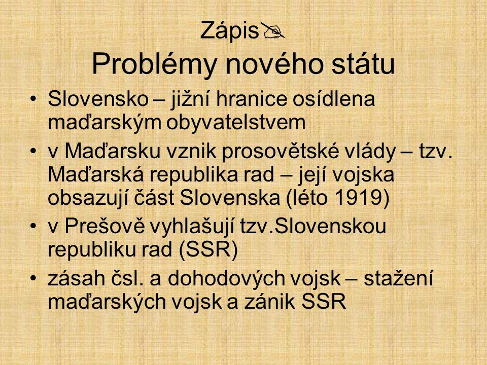 Zápis  Problémy nového státu Slovensko – jižní hranice osídlena maďarským obyvatelstvem v Maďarsku vznik prosovětské vlády – tzv. Maďarská republika