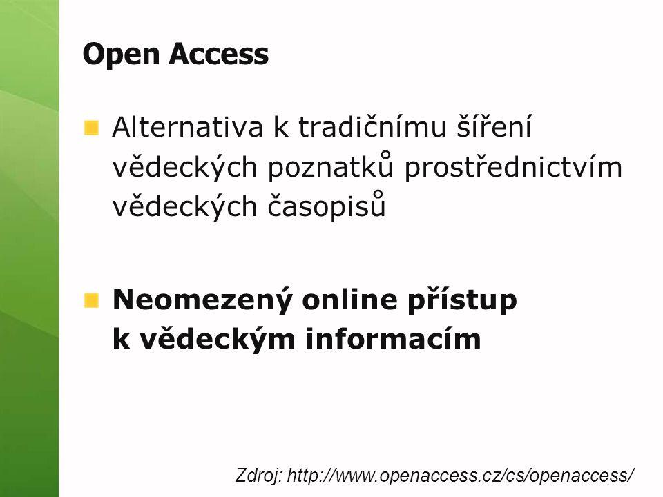 Open Access Alternativa k tradičnímu šíření vědeckých poznatků prostřednictvím vědeckých časopisů Neomezený online přístup k vědeckým informacím Zdroj: http://www.openaccess.cz/cs/openaccess/