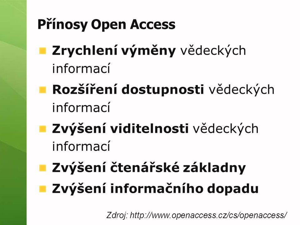Přínosy Open Access Zrychlení výměny vědeckých informací Rozšíření dostupnosti vědeckých informací Zvýšení viditelnosti vědeckých informací Zvýšení čtenářské základny Zvýšení informačního dopadu Zdroj: http://www.openaccess.cz/cs/openaccess/