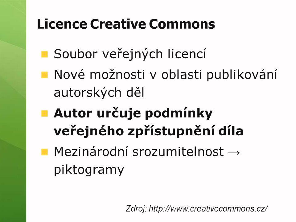 Licence Creative Commons Soubor veřejných licencí Nové možnosti v oblasti publikování autorských děl Autor určuje podmínky veřejného zpřístupnění díla Mezinárodní srozumitelnost → piktogramy Zdroj: http://www.creativecommons.cz/