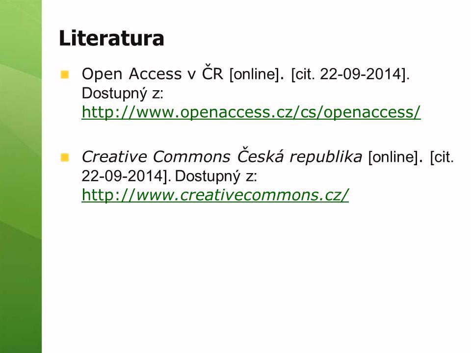 Literatura Open Access v ČR [online]. [cit. 22-09-2014].