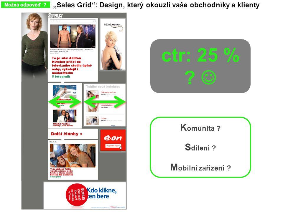 """""""Sales Grid"""": Design, který okouzlí vaše obchodníky a klienty Možná odpověď ? ctr: 25 % ? K omunita ? S dílení ? M obilní zařízení ?"""