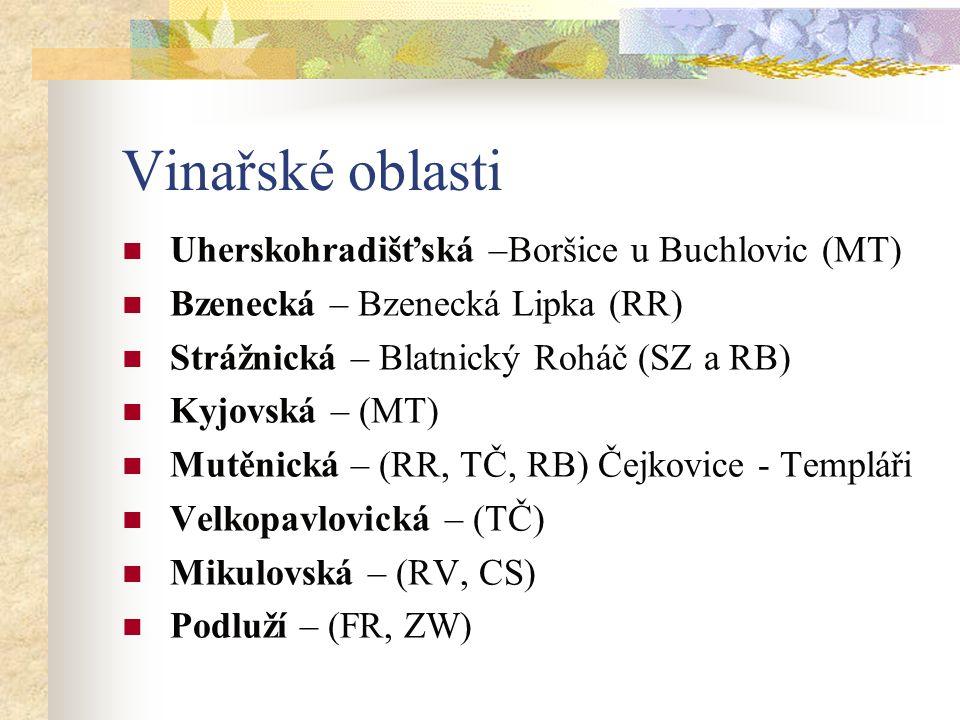 Vinařské oblasti Uherskohradišťská –Boršice u Buchlovic (MT) Bzenecká – Bzenecká Lipka (RR) Strážnická – Blatnický Roháč (SZ a RB) Kyjovská – (MT) Mutěnická – (RR, TČ, RB) Čejkovice - Templáři Velkopavlovická – (TČ) Mikulovská – (RV, CS) Podluží – (FR, ZW)