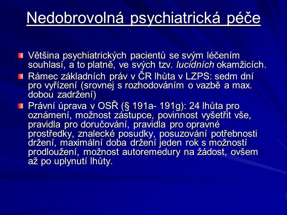 Nedobrovolná psychiatrická péče Většina psychiatrických pacientů se svým léčením souhlasí, a to platně, ve svých tzv. lucidních okamžicích. Rámec zákl