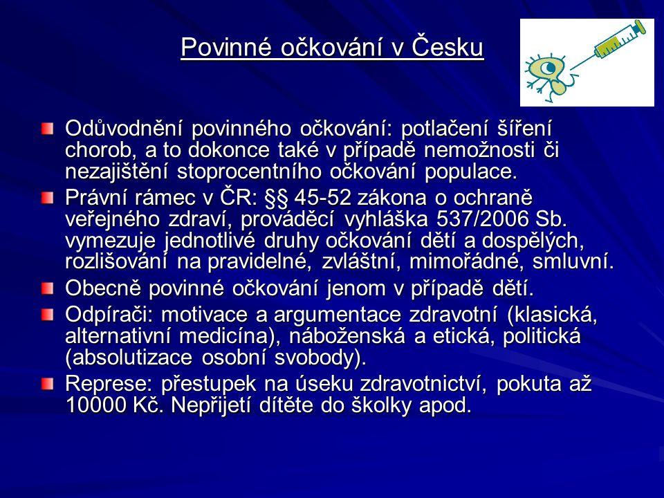 Povinné očkování v Česku Odůvodnění povinného očkování: potlačení šíření chorob, a to dokonce také v případě nemožnosti či nezajištění stoprocentního
