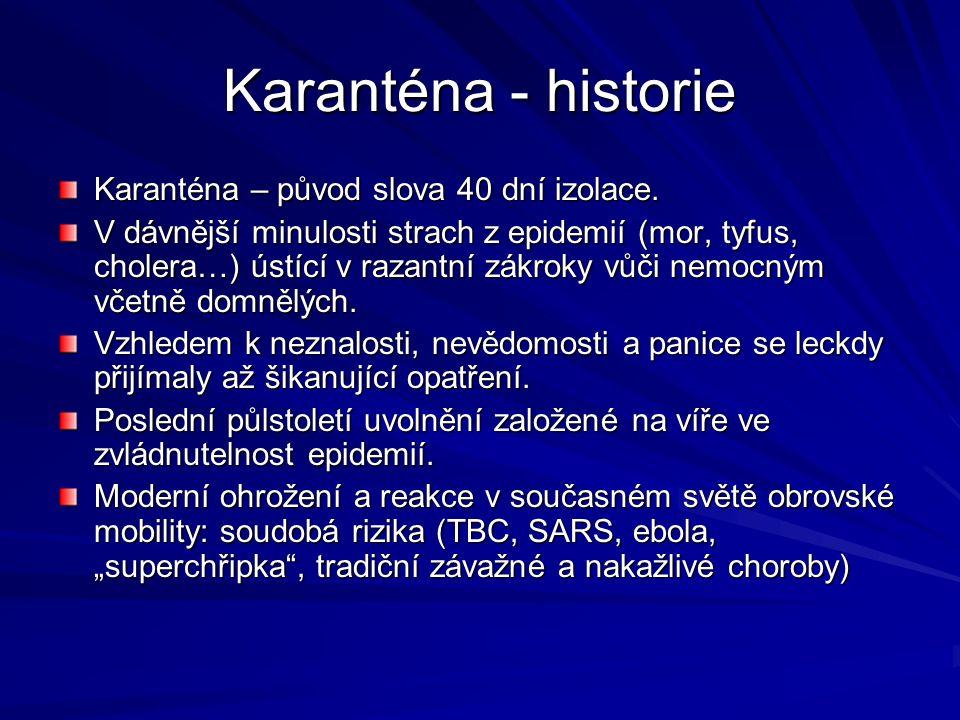 Karanténa - historie Karanténa – původ slova 40 dní izolace.