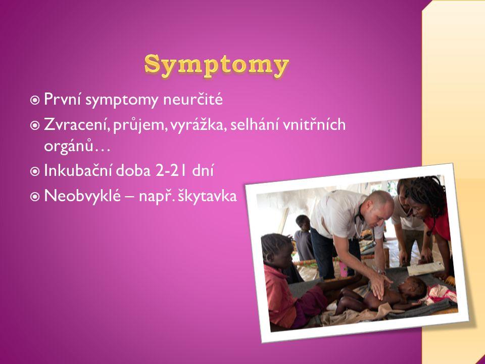  První symptomy neurčité  Zvracení, průjem, vyrážka, selhání vnitřních orgánů…  Inkubační doba 2-21 dní  Neobvyklé – např.