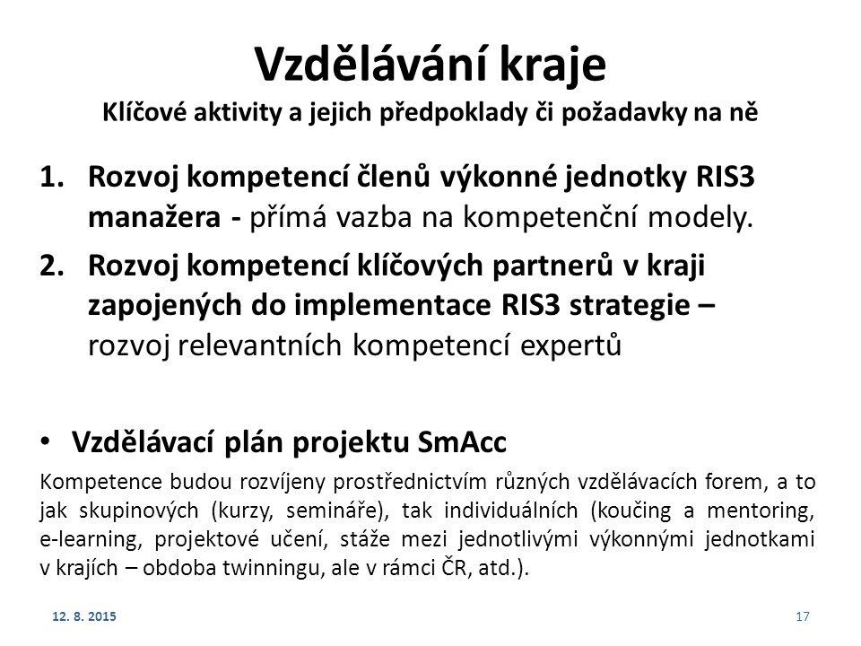 Vzdělávání kraje Klíčové aktivity a jejich předpoklady či požadavky na ně 1.Rozvoj kompetencí členů výkonné jednotky RIS3 manažera - přímá vazba na ko