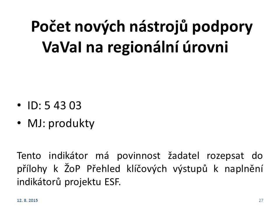 Počet nových nástrojů podpory VaVaI na regionální úrovni ID: 5 43 03 MJ: produkty Tento indikátor má povinnost žadatel rozepsat do přílohy k ŽoP Přehled klíčových výstupů k naplnění indikátorů projektu ESF.