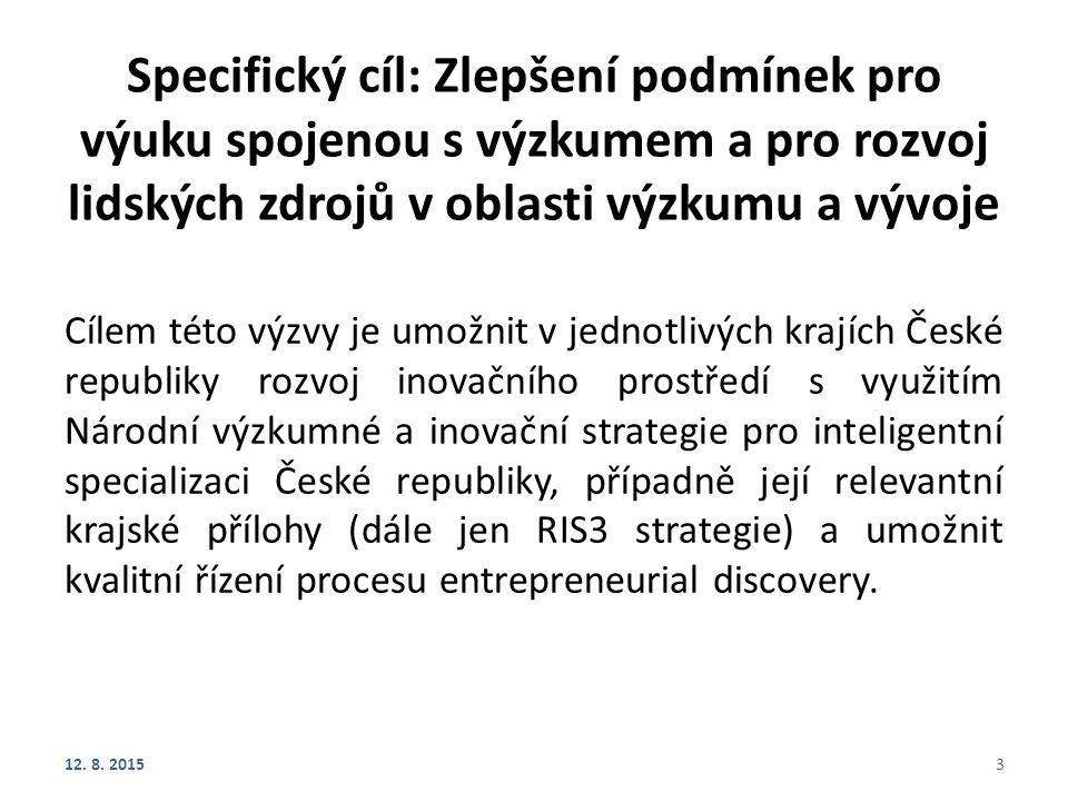 Specifický cíl: Zlepšení podmínek pro výuku spojenou s výzkumem a pro rozvoj lidských zdrojů v oblasti výzkumu a vývoje Cílem této výzvy je umožnit v jednotlivých krajích České republiky rozvoj inovačního prostředí s využitím Národní výzkumné a inovační strategie pro inteligentní specializaci České republiky, případně její relevantní krajské přílohy (dále jen RIS3 strategie) a umožnit kvalitní řízení procesu entrepreneurial discovery.