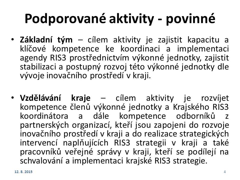 Podporované aktivity - povinné Základní tým – cílem aktivity je zajistit kapacitu a klíčové kompetence ke koordinaci a implementaci agendy RIS3 prostř