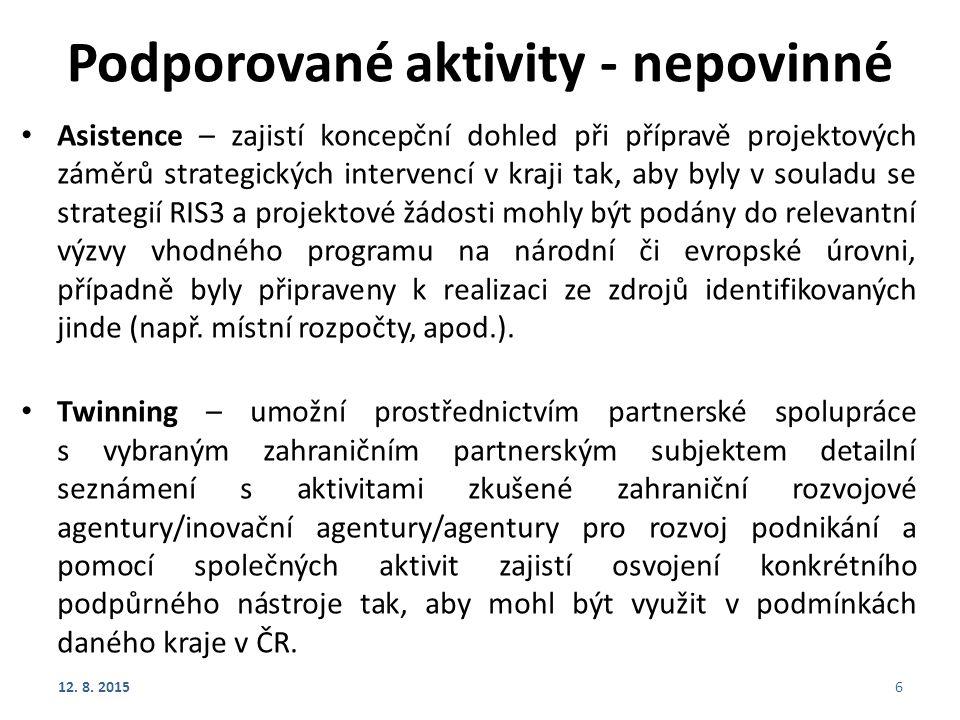 Podporované aktivity - nepovinné Asistence – zajistí koncepční dohled při přípravě projektových záměrů strategických intervencí v kraji tak, aby byly v souladu se strategií RIS3 a projektové žádosti mohly být podány do relevantní výzvy vhodného programu na národní či evropské úrovni, případně byly připraveny k realizaci ze zdrojů identifikovaných jinde (např.