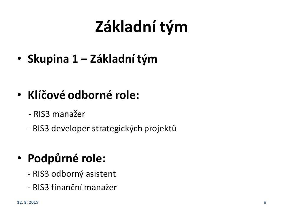 Základní tým Skupina 1 – Základní tým Klíčové odborné role: - RIS3 manažer - RIS3 developer strategických projektů Podpůrné role: - RIS3 odborný asistent - RIS3 finanční manažer 12.