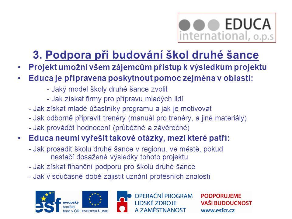 3. Podpora při budování škol druhé šance Projekt umožní všem zájemcům přístup k výsledkům projektu Educa je připravena poskytnout pomoc zejména v obla